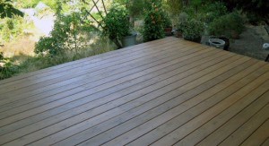 Deck made from Peerless Forest Products red cedar lumber.